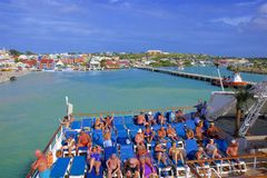 St John`s and a cruise port in Antigua, Caribbean. Panorama of St John`s and cruise port in Antigua, Caribbean stock images