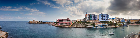 Panorama of St Julians, Malta. St Julians, Malta with the casino and new built hotels Royalty Free Stock Photos