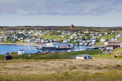 Panorama of St. Lawrence, Newfoundland. In Canada. St. John`s, Newfoundland and Labrador, Canada stock photography