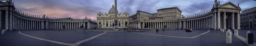 Panorama - St Peter Basilica Vatican Royalty Free Stock Image