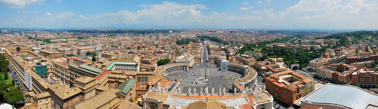 Panorama of St Peter's Square and Rome. Shoot from the top of the St Peter's Basilica Stock Image