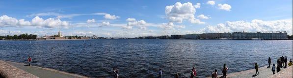 Panorama of St. Petersburg. The River Neva. St. Petersburg Stock Photo