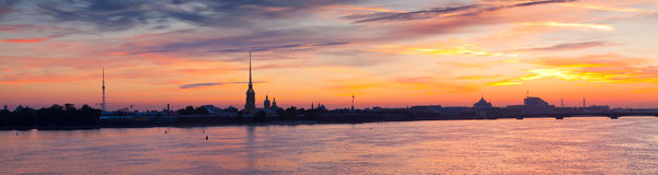 Panorama of St. Petersburg  in summer morning Royalty Free Stock Photography