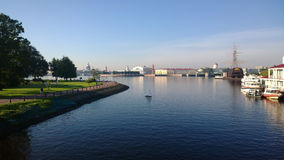 Panorama of St. Petersburg in sunny morning stock photography