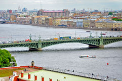 Panorama of St. Petersburg and water area of Neva river - birds eye view in cloudy summer day Stock Images