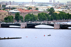 Panorama of St. Petersburg and water area of Neva river - view from height Stock Images