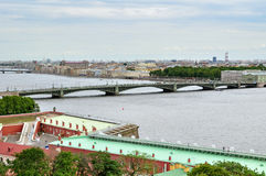Panorama of St. Petersburg and water area of Neva river - view from height Stock Image