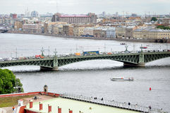 Panorama of St. Petersburg and water area of Neva river - view from height Royalty Free Stock Photo