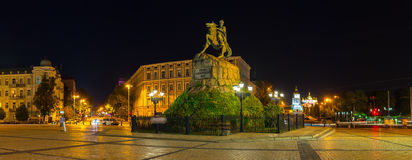 Panorama of St Sophia Square. KIEV, UKRAINE - SEPTEMBER 11, 2016: Panorama of St Sophia Square with the monument to Hetman Bohdan Khmelnytsky and bell tower of Royalty Free Stock Photo