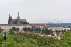 Panorama of the St. Vitus Cathedral in Prague at day in the blue sky. Royalty Free Stock Photos