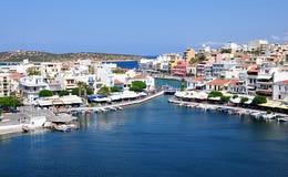 Panorama, stad Agios Nikolas, Kreta, Griekenland, Europa Royalty-vrije Stock Fotografie
