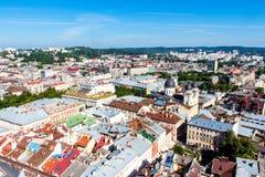Panorama staden av Lvov Royaltyfria Bilder