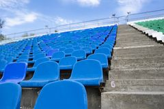 Panorama of stadium empty row seats on the open air place before concerts. Panorama of stadium empty row seats on the open air place before concert stock photography