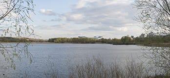 Panorama with stadium Kazan-Arena. Spring panorama with stadium Kazan-Arena stock image