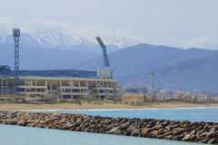 Panorama of stadium and mountains in Crete, Greece Stock Image