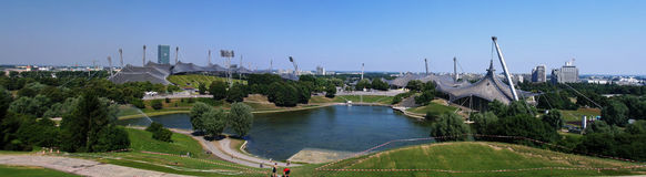 Panorama of the stadium in Olympic park, Munich. Germany Stock Photos