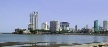 Panorama- stads- sikt av Bombay, Indien Arkivbilder