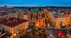 Panorama- stadshorisontsikt av Prague Arkivbild