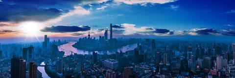 Panorama-Stadt-Ansicht des SHANGHAIS, CHINA Lizenzfreie Stockfotos