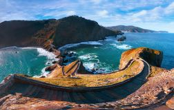 Panorama of stairs in gaztelugatxe in Basque Country. Coast royalty free stock image