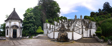 Panorama of Stairways to the church of Bom Jesus do Monte, Portugal Royalty Free Stock Images