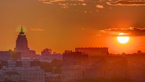 Panorama with Stalin skyscraper during sunset timelapse in Moscow, Russia. Panorama with Stalin skyscraper during sunset timelapse from rooftop in Moscow, Russia stock video
