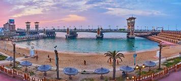 Panorama Stanley sąsiedztwo, Aleksandria, Egipt obrazy royalty free