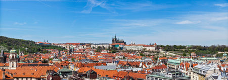 Panorama of Stare Mesto (Old City) and and St. Vit. Us Cathedral from Town Hall. Prague, Czech Republic stock images