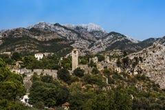 Panorama Stari baru forteca otaczający górami, Montenegro Obraz Stock