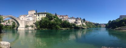 Panorama from Stari Most (Old Bridge) Royalty Free Stock Image
