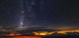 Panorama of the starry sky over the red horizon. Tenerife Stock Photos
