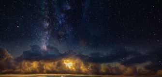 Panorama of the starry sky over the red horizon. Tenerife Royalty Free Stock Photo