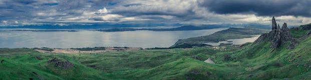 Panorama stary człowiek Storr, wyspa Skye, Szkocja Zdjęcia Stock