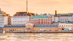 Panorama Stary Targowy Hall Vanha kauppahalli W Helsinki Przy latem Obraz Stock