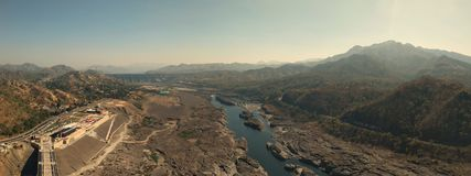A panorama from statue of unity stock image