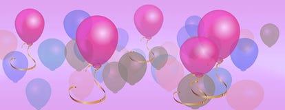 Panorama steigt Geburtstagsfeierhintergrund im Ballon auf Lizenzfreie Stockfotos