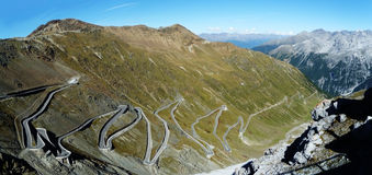 Panorama of Stelvio Pass, Italy Royalty Free Stock Photography