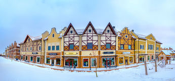 Panorama of stepped gable Dutch houses Stock Photo