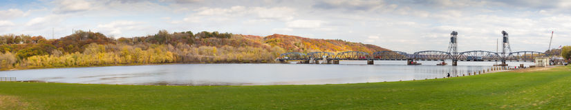 Panorama of Stillwater Lift Bridge Stock Photo