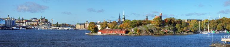 Panorama of Stockholm from Beckholmen island, Sweden Royalty Free Stock Images