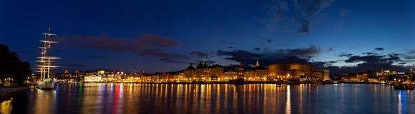 panorama- stockholm för natt sikt Royaltyfri Fotografi