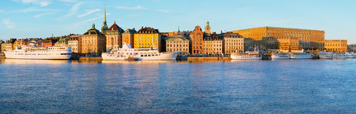Panorama Stockholm Old town and Royal Palace. Stock Images