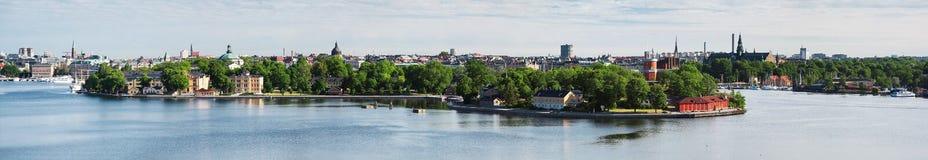 Panorama of Stockholm, Sweden. Panorama of islands Skeppsholmen and Kastellholmen in Stockholm, Sweden Royalty Free Stock Images