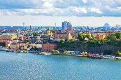 Panorama of Stockholm, Sweden. Scenic summer aerial panorama of the Old Town in Stockholm, Sweden Stock Photography