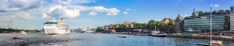 Panorama of  Stockholm, Sweden. Big Cruise Ship in Gamla Stan, the old part of Stockholm, Sweden in a summer day Royalty Free Stock Photography