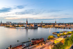 Panorama of  Stockholm, Sweden. Gamla Stan, the old part of Stockholm, Sweden in a summer day Stock Photography