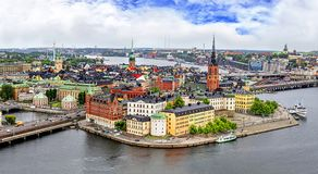 Panorama of Stockholm, Sweden. Panorama from height of bird`s flight on observation deck on tower City Hall to Gamla Stan Old Town, Stockholm, Sweden Stock Images