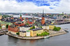 Panorama of Stockholm, Sweden. Panorama from height of bird`s flight on observation deck on tower City Hall to Gamla Stan Old Town, Stockholm, Sweden Stock Photo