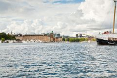 Panorama of Stockholm, Sweden from sea side Royalty Free Stock Photography