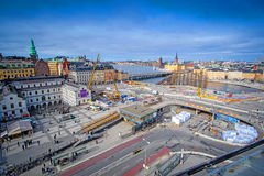 Panorama of Stockholm, Sweden with tower cranes Royalty Free Stock Photos